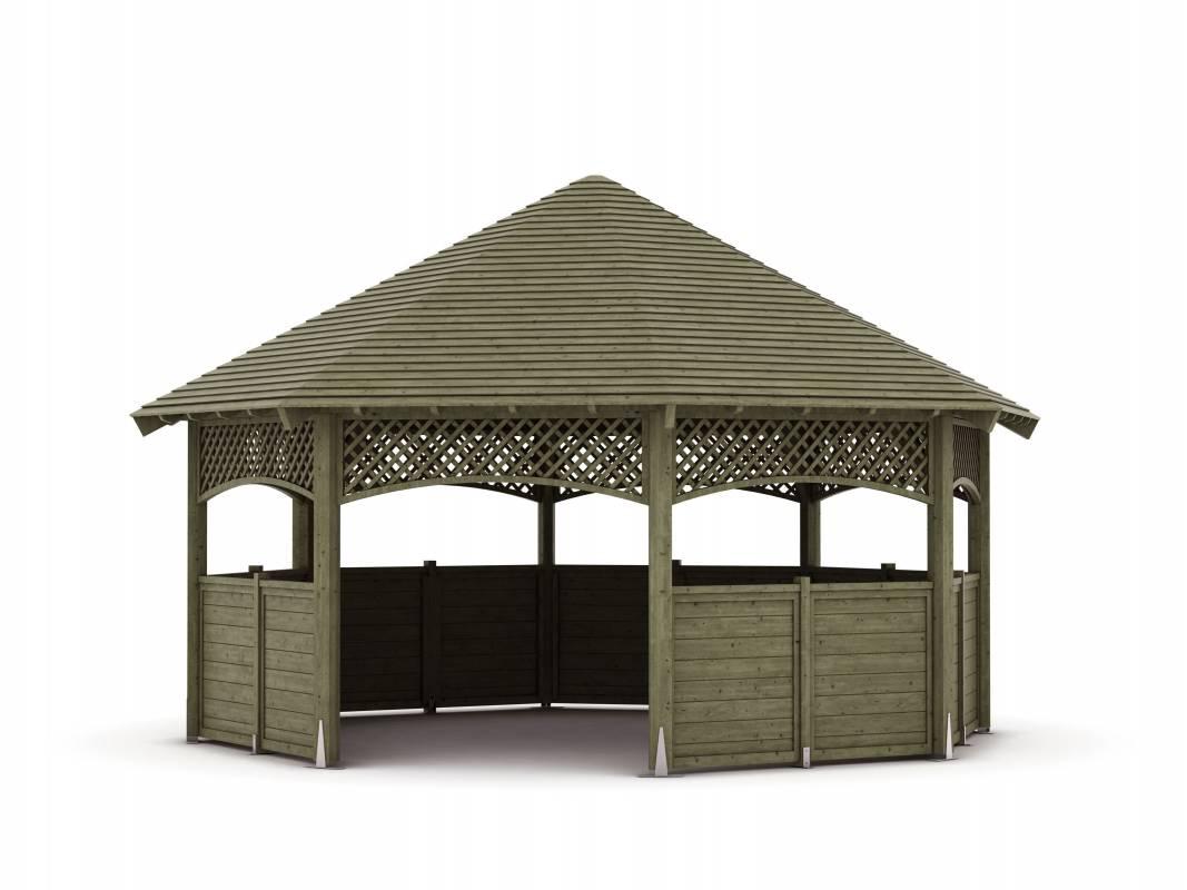 Kiosque En Bois Hexagonal kiosque - classique - pin - traité - toiture - bois - mobilier cj créations