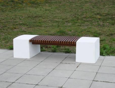 Bancs mobilier urbain assise bois b ton acier recycl - Banc en bois sans dossier ...